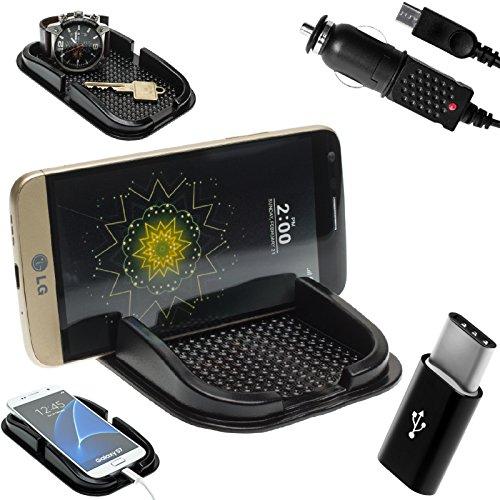 Mobilefox KFZ Anti-Rutsch Matte integr. Handy Halterung + Ladekabel SET für LG G6/G5/SE/V20 - Rutschfestes Auto Halter Pad