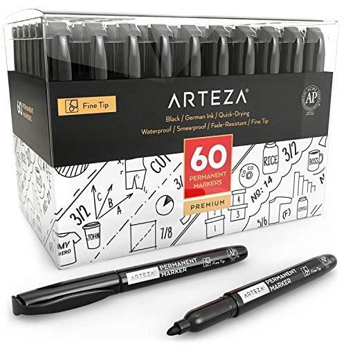 ARTEZA Rotuladores permanentes negros | Caja 60 |