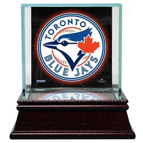 MLB Toronto Blue Jays Glass Single Baseball Case with Team Logo Background
