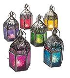 Klass Home Collection Mini Lanterne Marocaine Style Vintage Turc d'intérieur en Verre gaufré Finition Zinc Suspendue Lanternes de Sol Bougies Chauffe-Plat, Métal, Red, 7.5 x 7.5 x 16cm