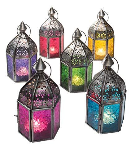 Authentische marokkanische Lampe, Mini-Laterne, Vintage-Stil, türkischer Innenbereich, geprägtes Glas und Zink-Finish, zum Aufhängen, Laternen, Teelichthalter, metall, gelb, 7.5 x 7.5 x 16cm -