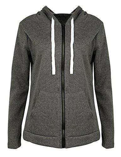 Romacci Women Hoodies Sweatshirt Coat Solid Long Sleeve Pocket Zip up Hooded Outerwear Jacket Black/Red/Dark Grey
