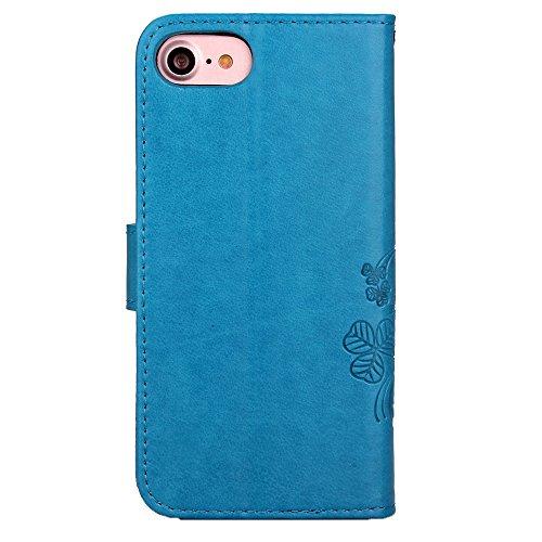 """MOONCASE iPhone 7 Étui, Trèfle à Quatre Feuilles Modèle Housse Pochette en Cuir Étui à rabat Portefeuille Porte-cartes [Antidérapant] TPU Case avec Béquille pour iPhone 7 (4.7"""") Noir Bleu"""