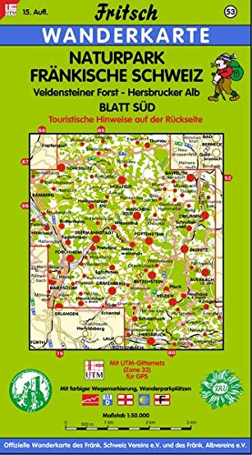 Fritsch Karten, Nr.53, Naturpark Fränkische Schweiz, Blatt Süd (Fritsch Wanderkarten 1:50000)