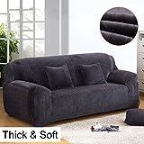 Housse de canapé épaisse et élastique en velours uni -Pour canapé 1, 2, 3 ou 4 places, gris, 3 Seater:195-230cm