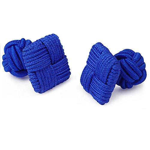 Honey Bear 1 Paar Herren/Damen Seide Stoff Knoten Seidenknoten Platz Manschettenknöpfe für Hemd/Kleid Zum (Blau)