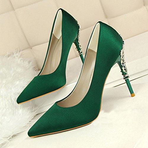 OALEEN Escarpins Elégant Femme Bout Pointu Satin Chaussures Talon Haut Métallique Soirée Vert