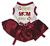 petitebelle Puppy Kleidung Hund Kleid Best Mom Ever Weiß Top Rot Tutu