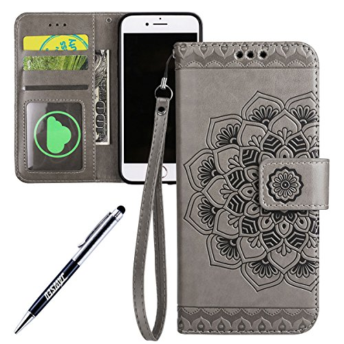 iPhone 6 Hülle,iPhone 6S Lederhülle,iPhone 6 6S Ledertasche Brieftasche,JAWSEU Schön Prägung Henna Mandala Blume Muster Lanyard/Strap Pu Leder Flip Wallet Cover im Book Style Magnetverschluss Protekti Blume,Grau