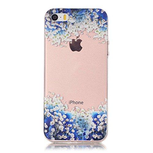 Pheant®[4 in 1] Apple iPhone 5S/5/SE Coque Gel Étui Housse de Protection Transparent Cas avec Verre Trempé Protecteur d'écran Stylet Bouchon Anti-poussière(Orchidée) Orchidée