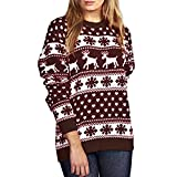 OverDose Damen Happy Carnival Style Womens Weihnachten Pullover Schnee Muster Floral Dot Print Tops Bluse Shirt Outdoor Schnee Party Slim Outwear