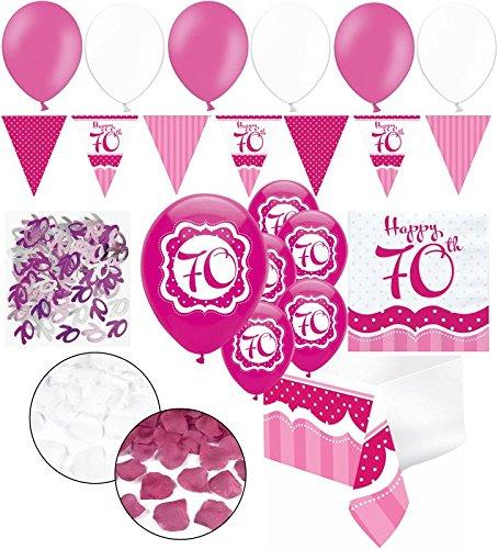 Kids Party World XXL 35 Teile zum 70. Geburtstag Perfectly Pink für 18 Personen - Servietten (70. Geschirr Geburtstag)