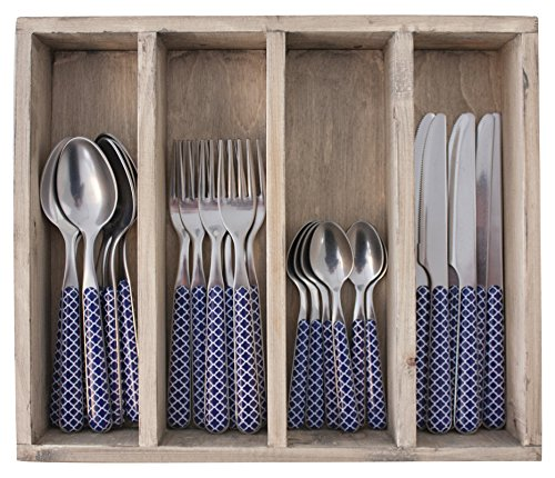 Provence Treillis dîner Ensemble de Couverts en Acier Inoxydable, bac, Bleu, 33.5 x 29.5 x 6.5 cm