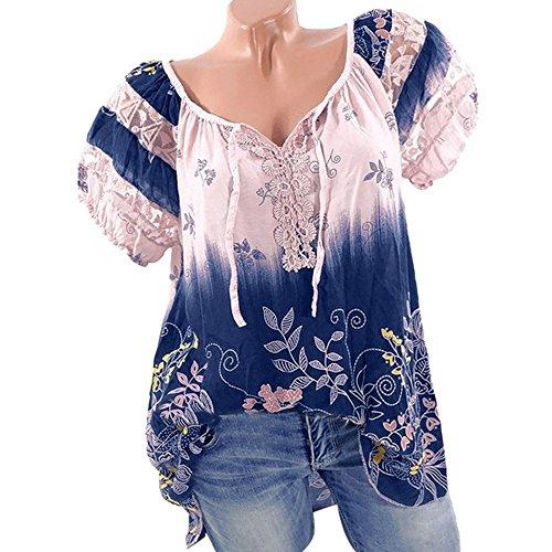 Quceyu Damen Blumen Spitze Tops Oversize Bluse Shirt Kurzarm V-Ausschnitt Oberteile Lose T Shirt (Rosa, Medium)