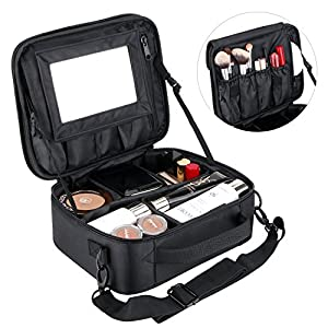 Portable Make up Bag Professhional Cosmetic Makeup Organiser Bags Train Case Brush Pouch Toiletry Travel Bag For Men Women Girls with Large Compartments & Velcro Mirror