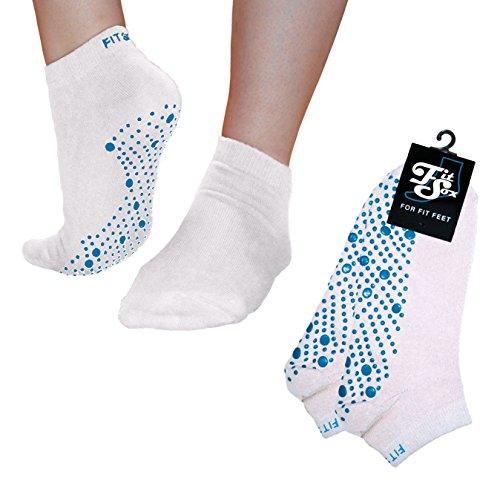 Pilates, Yoga, Barre, Kampfsport, Fitness, Tanz. Anti-Rutsch, Stürze Prävention Grip-Socken, Grip Socks (Weiß / Blau)