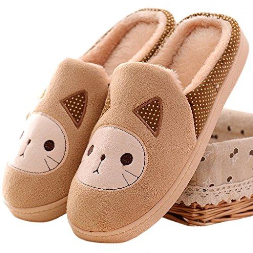 Minetom Donne Ragazze Inverno Autunno Pantofole Morbido Felpa Pantofole Cartoon Gatto Scarpe Di Cotone Khaki