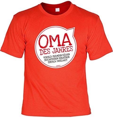 Oma/Sprüche/Spaß-Shirt/Fun-Shirt: Oma des Jahres Vorbild Freundin Köchin Beschützerin Beraterin einfach fabelhaft Rot