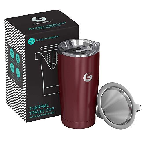 Coffee Gator Pour Over Kaffeebereiter - All-in-One Thermo-Kaffeebecher für unterwegs und Handtropf-Kaffeemaschine - Vakuumisolierter Edelstahl mit papierlosem Filter - 585ml - Rot