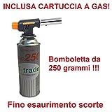 CANNELLO MINI BRUCIATORE TORCIA SALDATORE GAS FIAMMA OSSIDRICA + 1 CARTUCCIA A GAS DA 250 GR INCLUSA