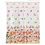 meisijia Schmetterling Voile Vorhänge Schmetterling Flock Garn Polyester Tür Fenster Vorhang Stangenabnutzung 100*200cm
