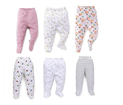 NammaBaby Pajama Leggings with Booties Leggings for New Born Baby - Set of 6 (9-12 Months)