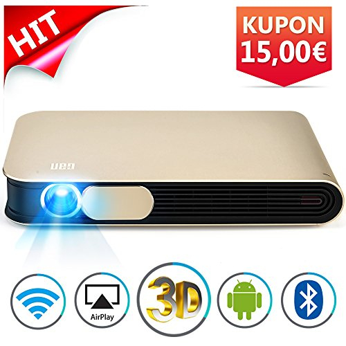 WOWOTO DLP Mini Beamer 3D Full HD LED Projektor 3500 Lumens Unterstützt 1080p mit Metallkapselung Android 4.4 OS WiFi HDMI USB AV Bluetooth AirPlay für Laptop Handy Tablet PC TV PS4 XBOX Heimkino Videoprojektor (3500 Lumen Led-licht)