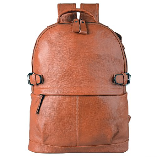 (ONE YEAR GUARANTEE) AB Earth Womens leather backpack Genuine Cow Leather Casual Daily Backpack Handbag, M752 (Brown)