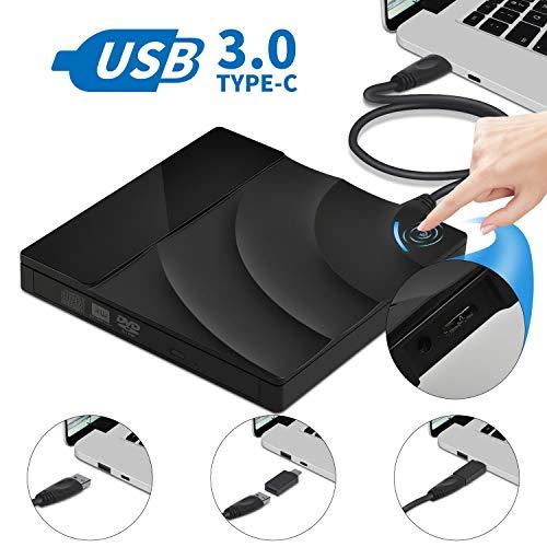 Externes CD DVD Laufwerk, 24HOCL USB 3.0 mit Type-C DVD/CD Brenner und -Lesegerät für Laptop, Desktop, Mac, MacBook, iOS, Windows 10/8/7/XP and Linux [2019 Aktualisierte Version]