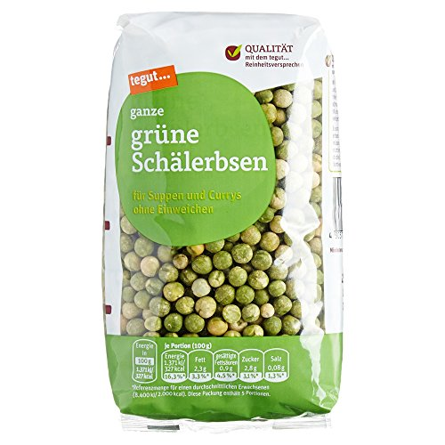 Tegut Ganze grüne Schälerbsen, 500 g