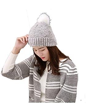 Mai Dou Femenino Otoño Invierno Hacer Pajarita Linda Pelo De Pelo Pelota Caliente Hat