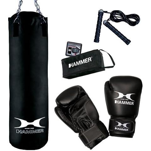 HAMMER Boksset Chicago - bolsas de boxeo y almohadillas (Monótono, Heavy bag, Adulto, Negro,