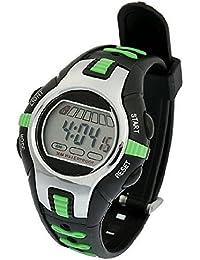 SODIAL(R) Reloj Digital Deportivo Pulsera de Plastico Ajustable Negro Verde para Ninos