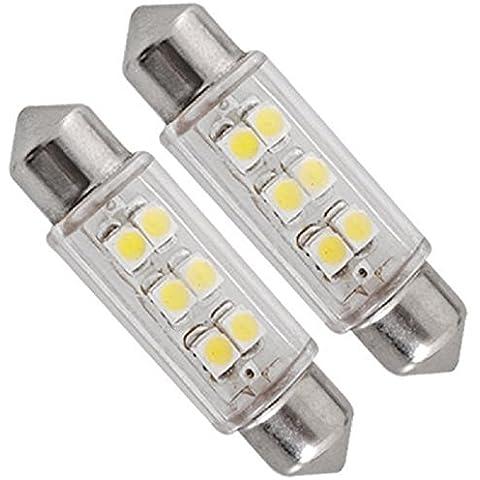 Ularmo 2pc Superled 39mm SMD 6 LED Festoon coche bombillas de bóveda blanca 12V 3W