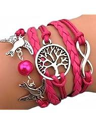 SODIAL(R) Pulsera infinito arbol de la vida, paloma y perla / eternidad /one direction / karma - rosa red / plata