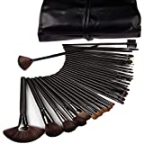 NAKED PLUSCosmetic Brush Set (32 Pieces) For Eye Shadow Blush Concealer With Black Leather Pouch