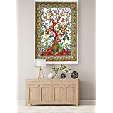 White Tree Of Life Printed Hanging Wall Hanging Small Tapestry Cotton Poster Wall Decor Table Cover Yoga Mat Cotton Office/Home/Room Decor Poster By Handicraft-Palace