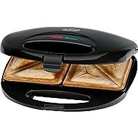 Clatronic ST 3477 Sandwichtoaster, 3-eckige Sandwichplatten, automatischer Temperaturregler, mit 2 Kontrollleuchten, Antihaftbeschichtung, Überhitzungsschutz, schwarz