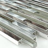Alu Aluminium Glas Mosaik Metall Braun Silber Mix Stäbchen