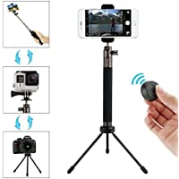 Moreslan Bluetooth Selfie Stick Tripod Set with Remote, 3 in 1 72cm Extendable Phone Tripod Monopod for iOS & Android Smartphones, SLR, Gopro, 360 Degree Rotation Support Photo and Video
