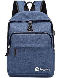 PB PEGGYBUY - Mochila de lona antirrobo para hombre o mujer, con carga USB, color azul