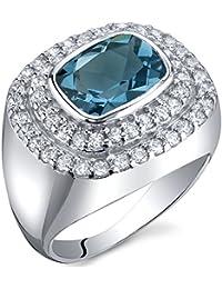 Revoni Bague Femme - Argent fin 925/1000 - London Topaze Bleue 2.25 ct - Oxyde de Zirconium