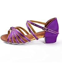 20c829ae HROYL Niñas Zapatos de Baile/Zapatillas de Baile Latino estándar de satín  Salón ...