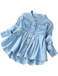 Vestido para Niñas, K-youth® Ropa Bebe Niña Recién Nacido Denim Fruncido Manga Larga Camiseta Tops Blusa Vestido de falda de manga larga Vestidos Niña Fiesta