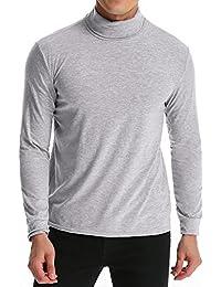 MODCHOK Turtleneck Shirt, Herren Langarmshirt Rollkragenshirt Ringelshirt  Rollkragenpullover Longsleeve Slim Fit Einfarbig e1a2562d20