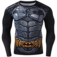 Cody Lundin hombres Impresión cinturón bat héroe insignia apretado deporte superior largo manga camiseta