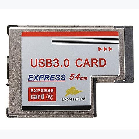 Express Tarjeta - TOOGOO(R)Conversor Adaptador USB 3.0 HUB A Express Tarjeta Interior 2 Port 54mm PR Win7/8