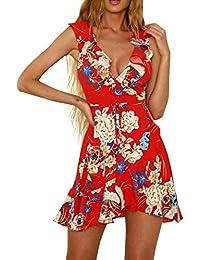 Oyedens Gonna Donna Moda Femminile Senza Maniche Vestito Partito Elegante  Casual Donne Festa Abito sulla Spiaggia Vestito Floreali Mini… 82df42a1701