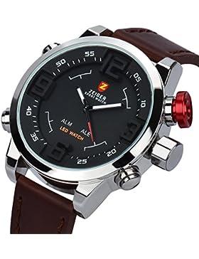 [Gesponsert]ZEIGER Herren-Armbanduhr Analog Quarz Leder W297