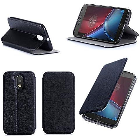 Negro Cuero Funda Folio Carcasa para Lenovo Motorola Moto G 4 Generación 2016 / G4 PLUS Dual Sim Piel Case Cover con Soporte - Flip cover caso para Moto G4/G4+ (PU Cuero - Accesorios XEPTIO case